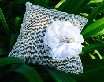 Ring Bearer Pillow With Off Centred Flower