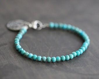 Turquoise Bracelet, Beaded Bracelet, Kingman Turquoise, Layering Bracelet, 4mm, Charm Bracelet, Gemstone, Sterling Silver, Botanical
