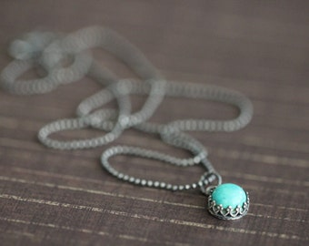 ON SALE Turquoise Necklace, Bezel Set, 8mm, Gemstone Necklace, Solitaire Necklace, Sterling Silver, Beaded Chain, 18""