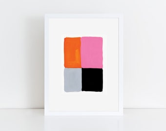 Geometric Abstract Original Painting, 12x9, Pink & Orange  NY1632