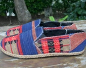 Vegan Mens Shoes, Loafer Style Espadrilles in Blue And Red Ethnic Naga Tribal Textiles - Morgan