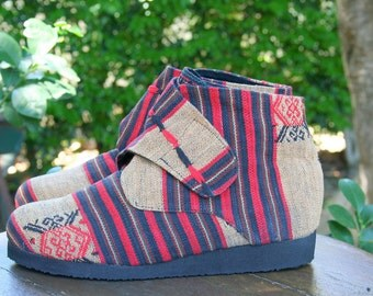 Vegan Womens Ankle Boot In Tribal Naga Retro Bootie- Cyndie