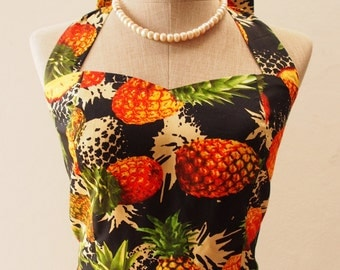 SALE -Black Pineapple Dress, Black Dress, Tropical Dress, Women Preppy Dress, Summer Sundress, Vintage Retro Dress,S,L,XL