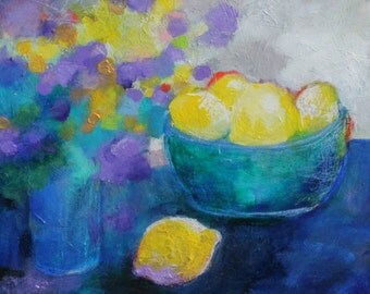 "Contemporary Colorful Still Life, Yellow, Blue, Acrylic Painting ""Flowers and a Bowl of Lemons"" 12x12"