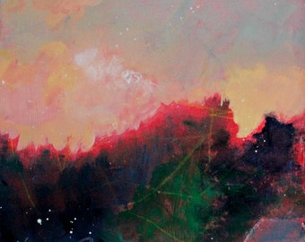 "Abstract Landscape, Small Original Sunset Painting, Mountains, Trees, ""In the Shadows"""