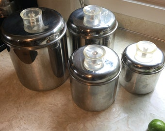 Vintage Mod Chrome Kitchen Canisters Set of 4 Revere Ware