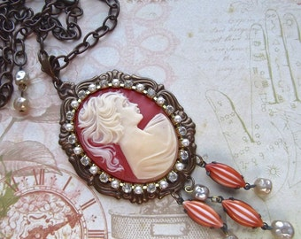 Vintage Large Cameo, Mounted Cameo, Cameo With Drops, Vintage Drops, Chocolate Ox, Chocolate Brass, Vintage Faux Pearl,RhinestonePearlChain