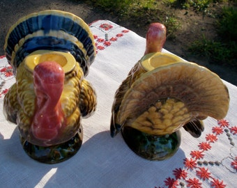 50s 60s NAPCOWARE Thansgiving Holiday Candle Stick Holders Set of 2 Turkeys