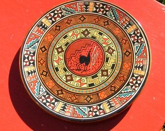 South American Folk Art Plate - Signed on back -  Leonardo Paz  -made of wood