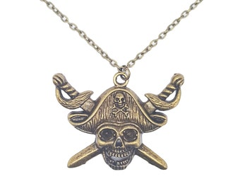 Skull and Crossbones Pirate Davy Jones Charm Pendant Antique Bronze Handmade Necklace Jewellery Gift for Her