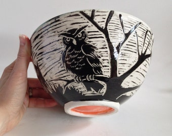 Halloween Cemetery with Owl & Pumpkins Candy Dish