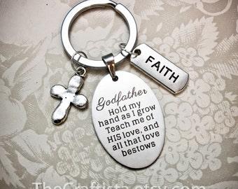 Godfather Keychain, GF2, Godfather Gifts, Godfather Key Ring, Godfather Charms, Godfather Pendant, Godfather Gift, Baptism Gift, Christening