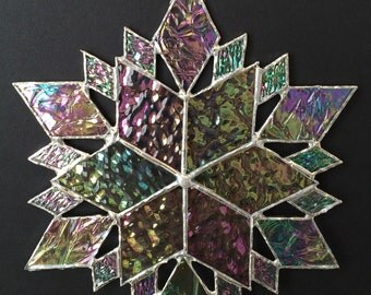 stained glass snowflake suncatcher  (design 36B)