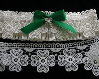 Irish Wedding Garters\Celtic Shamrock Lace\Green Celtic Weddings\Crystal Four Leaf Clover Pendant