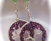 Amethyst Tree of Life Earrings, February Tree of Life Earrings, Swarovski Crystal Tree of Life Earrings