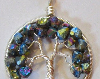 Wire Wrapped Tree of Life, Druzy Necklace, Titanium Druzy Dangle Matching Earrings