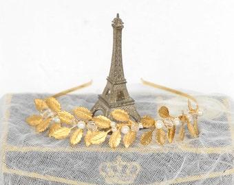 Gold Wedding Headband, Gold Floral Bridal Headband, Floral Pearl and Crystal Headband, Bridal Headpiece, Rhinestone Leaf Headband