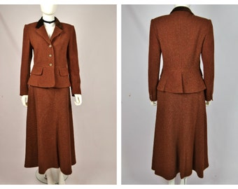 Vintage 90's does 30's Laura Ashley Edwardian Style Red Brown Tweed Suit Skirt Jacket Riding Hacking S M
