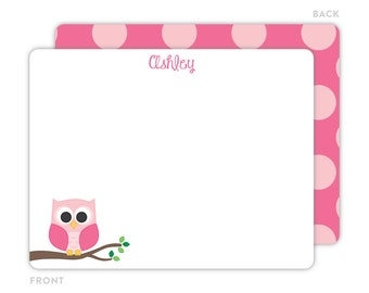 Owl Note Cards - Personalized Flat Note Card - Owl Notecards - Children Stationery - Owl Stationery - Kids Thank You Cards