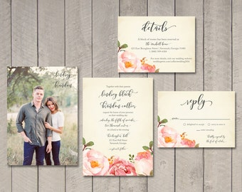 Romantic Floral Wedding Invitation, Response, Details Card (Printable) by Vintage Sweet