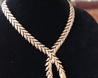 Beautiful Unique Vintage Modernist Renoir Copper Style Lariat Necklace