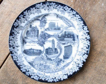 Antique Souvenir Plate Pennsylvania Souvenir of Pittsburg Early 1900s Historical City Collectible Display
