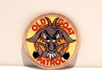 Old Goat Patch Vintage Gray Goat with Glasses Patch 1980s 1990s Goat with Bad Attitude Embroidered patch Over the Hill Funny Gag Gift Cranky