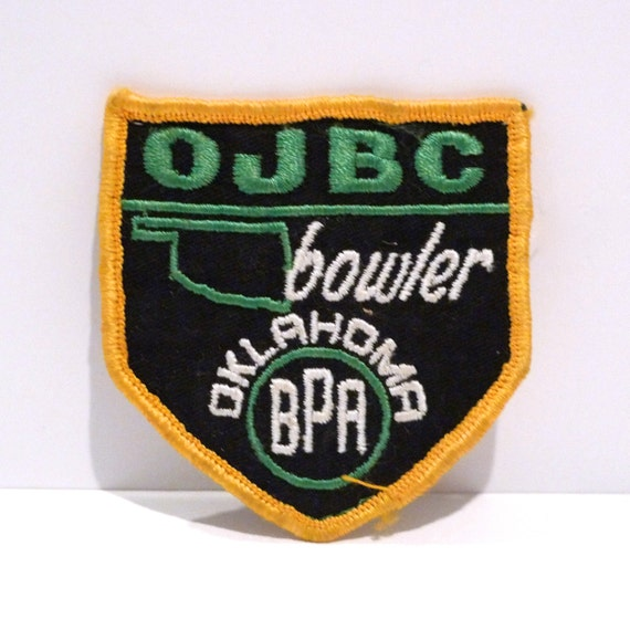 Bowling patch s vintage oklahoma bowler embroidered