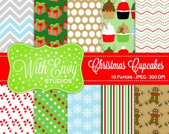 SALE  Christmas Cupcakes Digital Scrapbook Paper - Cupcake Scrapbook Paper - Holiday Cupcake Paper - Christmas Paper - Commercial Use