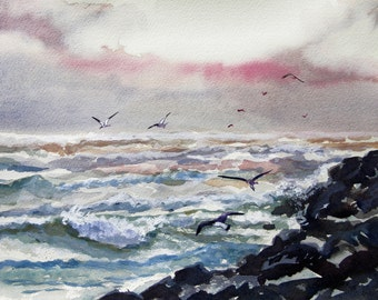 Original watercolor of the ocean. 'Cold sunrise at the jetty'
