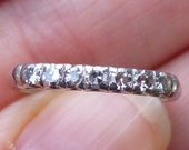 Art Deco Vintage Deco .15 Ct Diamonds Platinum Engagement Ring Wedding Band Stacker band or Pinky ring