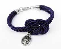 Navy Blue Rope Knot Bracelet with Silver Anchor Charm, Nautical Bracelet,  Silk Rope Bracelet, 12 Colors available