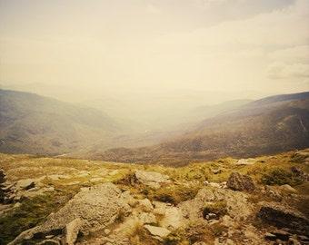 Mountain landscape print. Foggy / misty mountain photo,.Nature photography, pastel wall art, home decor, rocky mountain top