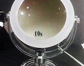 Vintage Lucite & Chrome Lighted Makeup Mirror