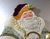 Fitz and Floyd SANTA Canape Dish Tray Plate / Candy Serving / Wall Plaque