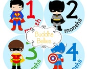 Baby Month Sticker Superhero Monthly Stickers Baby Stickers Baby Milestone Sticker Photo Prop Baby Shower 12 Month Stickers Baby Boy - B119
