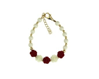 White Pearls with Gold Beads & Red Flowers Bracelet (B100-CFRW)