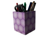 Purple Decoupage Desktop Pencil Holder/Pen Cup/Pen Pot - Home Office, Study, Kitchen Utensil Organizer