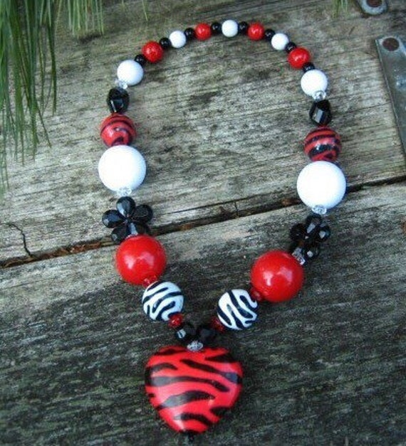 Wild At Heart Zebra Chunky Necklace (Red):