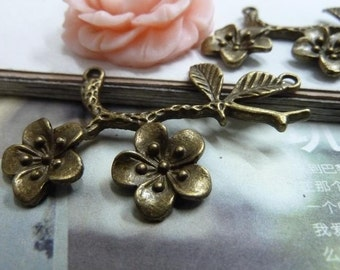 5pcs 34*53mm antique bronze  branch flower charms pendant C2042