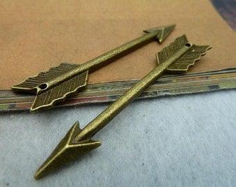10pcs 11*65mm antique bronze arrow charms pendant C2322