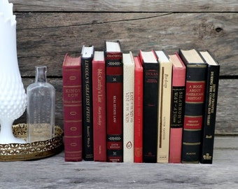 Set of 11 Vintage Books - Antique Book Decor - Photo Props - Wedding Decor - Centerpieces - Red, Maroon, Black Books- Library Decor