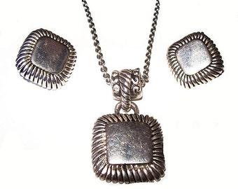Silver Pendant Necklace Earring Set Square Design Yurman Style Vintage Mid Century