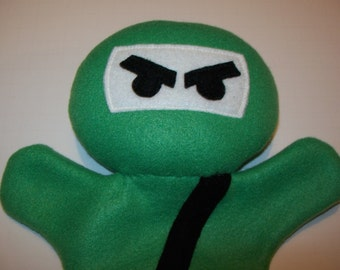 "11"" Green Fleece Ninja Hand Puppet - Ready to Ship!"
