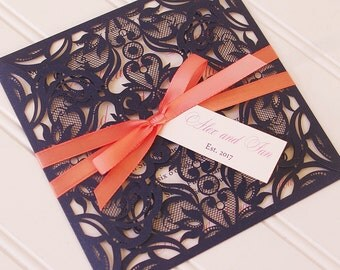 Coral and Navy Laser Cut Wedding Invitations. Pocket Style Wedding Invitation. Rustic Coral Wedding. Navy Lasercut. Navy and Coral.