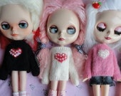 Hand Knitted Soft Heart Valentine Sweaters for Blythe