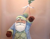 "Hand Carved Wood ""Go Fly A Kite"" Santa"