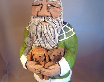 Hand Carved Wood Animal Hugs Santa
