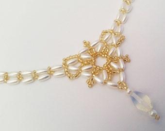 Wedding Bridal Gold & Pearls Sri Lanka Moonstine Beading Artwork Necklace HANDMADE Elegant Lanyard Fashion SALE !