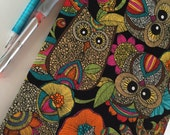 Fabric Covered Notebook – Owls on Black Background Print Fabric